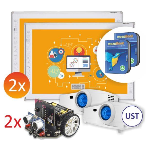 2x R3-800 + projektory UST + robot Maqueen