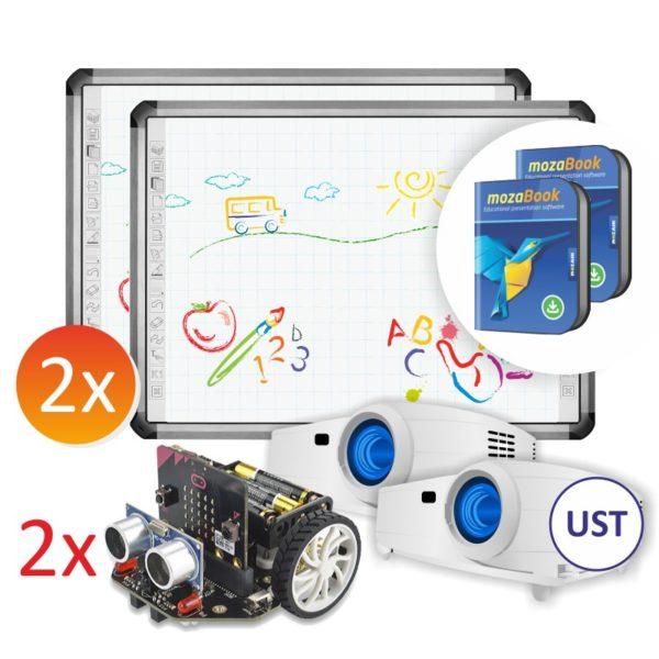 2x R5-800L + projektory UST + 2x robot Maqueen