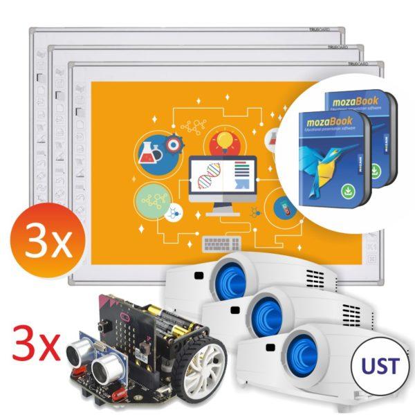 3x R3-800 + projektory UST + 3x robot Maqueen