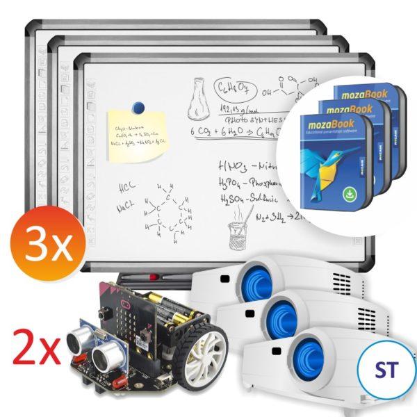 3x R5-800E + projektory ST + 2x robot Maqueen 3x mozaBook