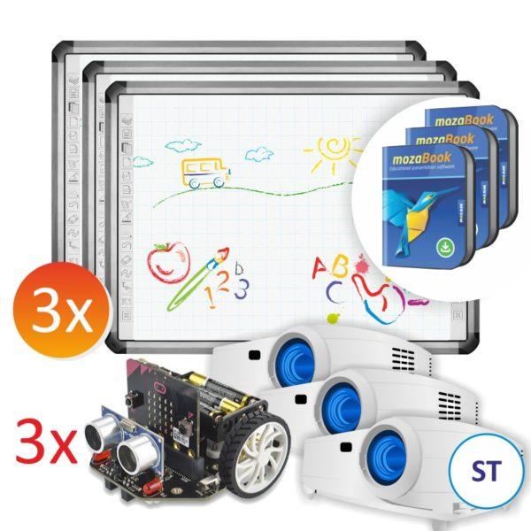 3x R5-800L + projektory ST + 3x robot Maqueen