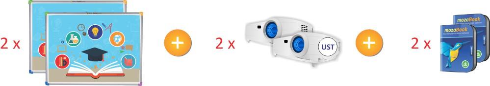 DualBoard1279 z projektorem i mozaBook
