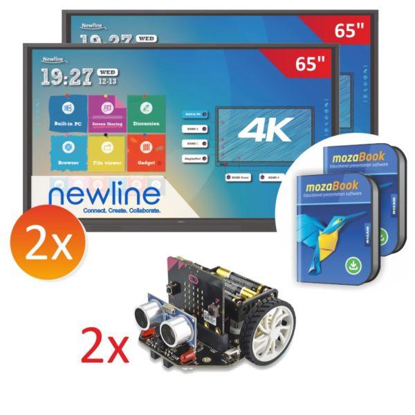 zestaw 2x monitor Newline 6518RS z robotami Maqueen_