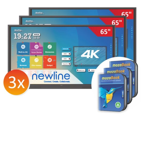 zestaw 3xmonitor Newline 6518RS z 3x mozaBook